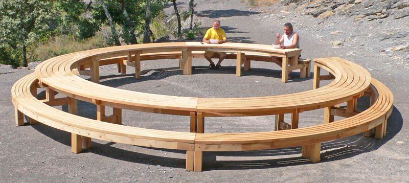 mobilier urbain bois massif banc table de pique-nique ...