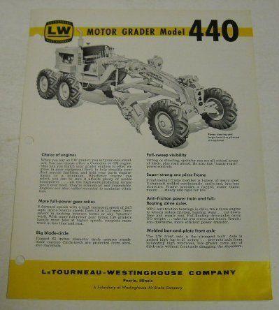 LeTourneau LW 1962 440 Grader Sales Brochure Letourneau - sales brochure