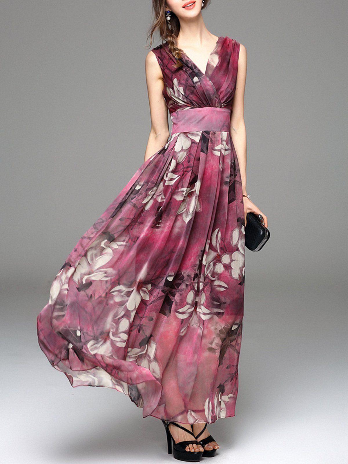 V neck swing beach sleeveless resort floral maxi dress dresses
