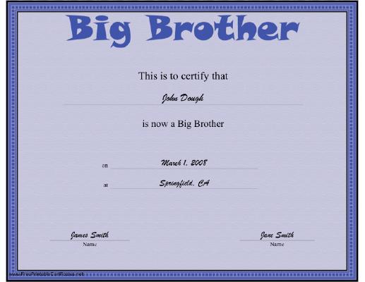 Big Brother Certificate Printable Certificate Big Brother Gift Big Brother Kit Big Brother