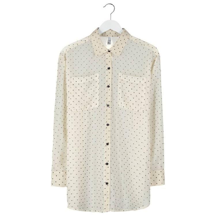 OVERSIZED - Bluse - black polka dots on creme chiffon by American Apparel
