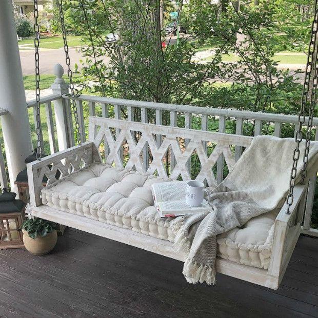 Diamond Back White Washed Porch Swing
