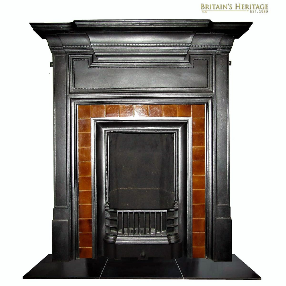 Antique 1920 S Tiled Cast Iron Fireplace In 2020 Cast Iron Fireplace Tile Repair Fireplace