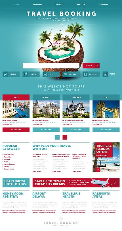 Template Travel Booking Responsive Website Template - Booking website template