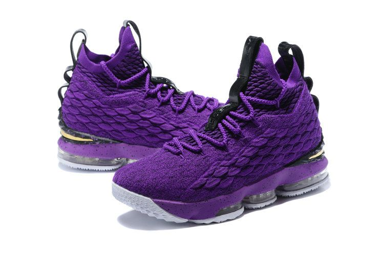 4982c4e50e513 Genuine Nike LeBron XV EP 15 Mens Basketball Shoes Violet Gold Black White