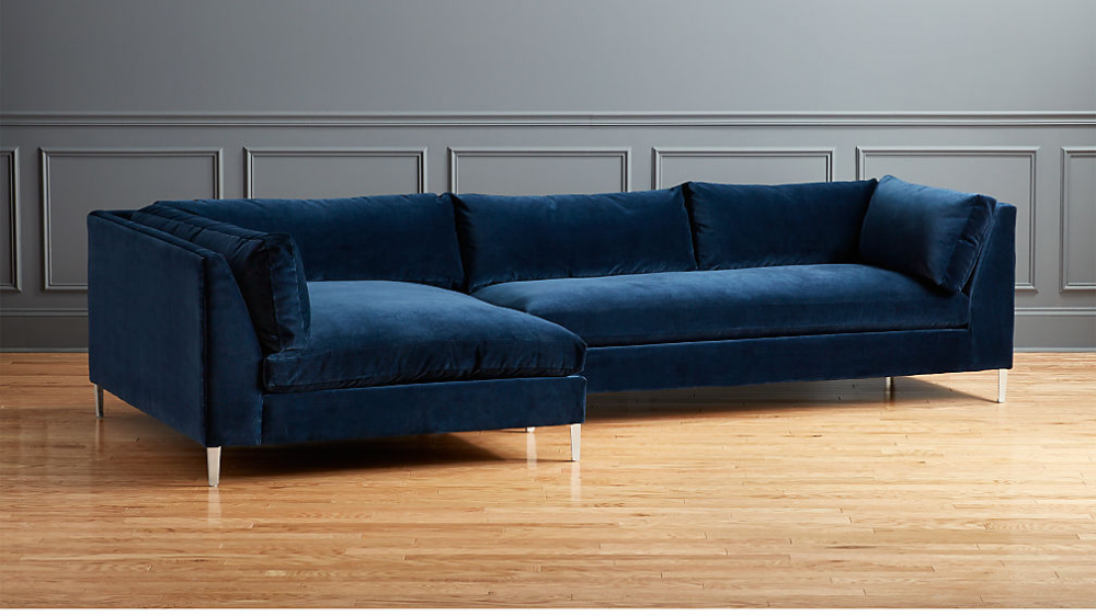 Classic And Traditional Small Space Velvet Sectional Sofa With Reversible Chaise Blue To View Sectional Sofa Sectional Sofa With Chaise Sectional Sofa Couch