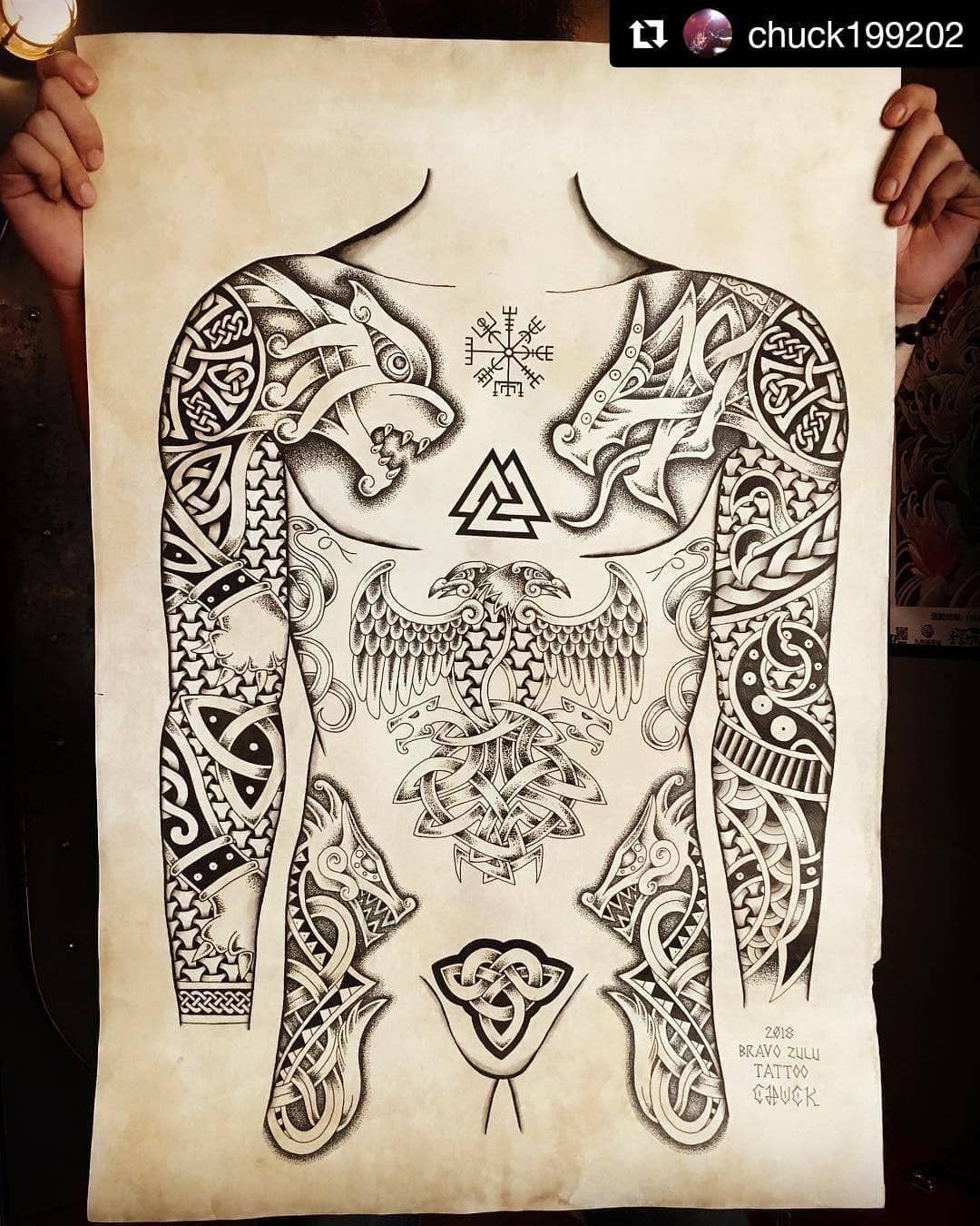 86kbest Viking Tattoo Art On Instagram Tattoo Artist Ig Chuck199202 Chuck199202 Tattoo Studio Bravo Zulu In 2020 Wikinger Tattoos Wikinger Tattoo Runentattoo