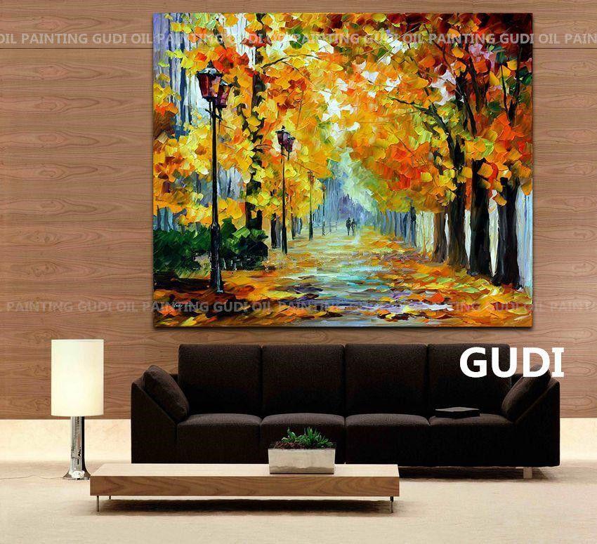 GUDI-moderna pintura al óleo abstracta decorativa pintada a mano del ...