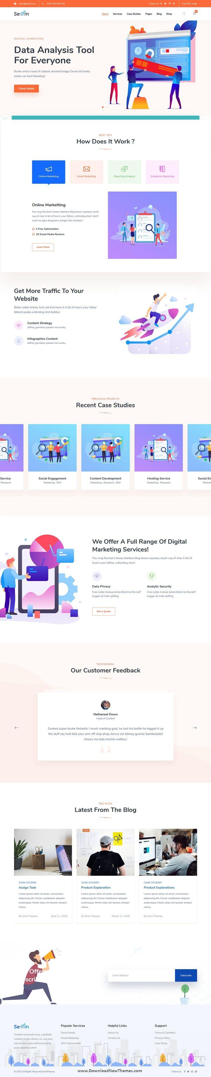 Seom Digital Marketing Seo Wordpress Theme Landing Pages Digital Marketing Seo Marketing Web Design Inspiration