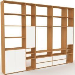 Photo of Holzregal Eiche – Modernes Regal aus Holz: Schubladen in Weiß & Türen in Weiß – 303 x 233 x 35 cm, P