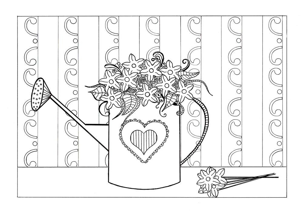 Spring Flowers Adult Coloring Page Spring coloring pages