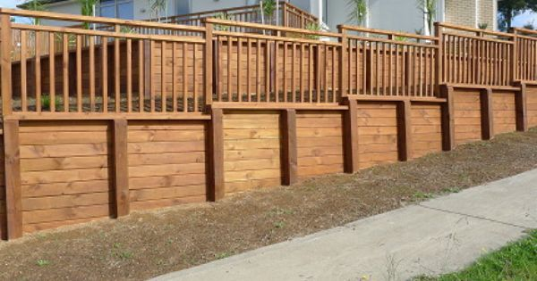 Timber Retaining Walls Fence On Top