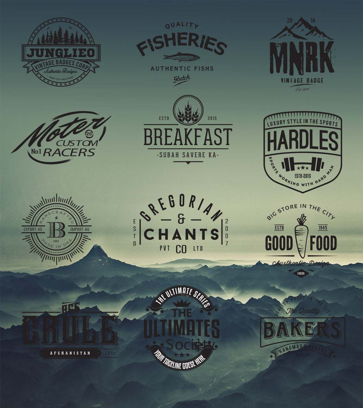 Retro logo and badges cafe hipster vector Дизайн