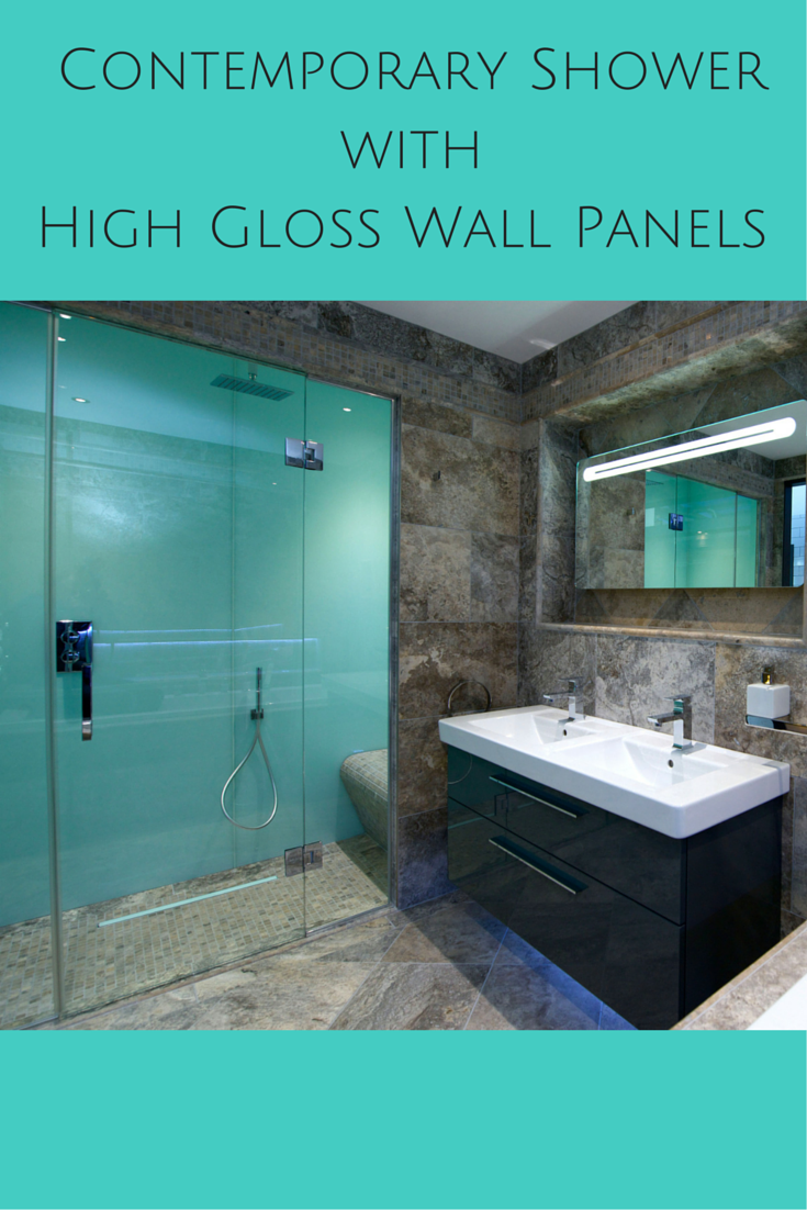 These high gloss shower wall panels (which look like back painted ...