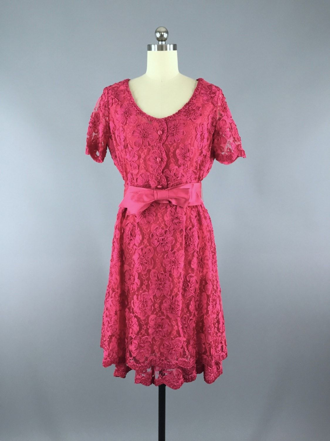 1960s Vintage Pink Lace Dress by Sophisticated Miss