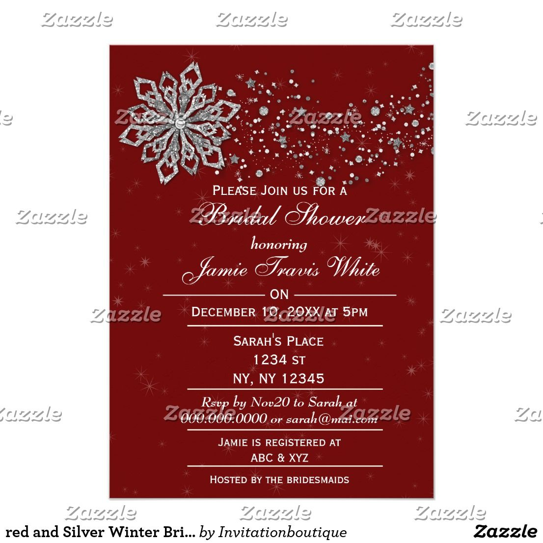 Red And Silver Winter Bridal Shower Invite Zazzle Com