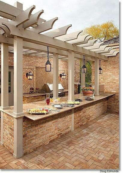 Pergola over outdoor kitchen pergolas y quinchos Pinterest