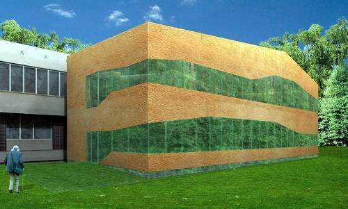 Budynek jest przeznaczony do obsługi klientów Urzędu Pracy. Projekt przewiduje wystawienie zwartego w bryle budynku nie przekraczającego wysokości 10,50m z funkcją administracyjną i biurową. Zewnętrzne fasady budynku przewidziano jako proste ściany z warstwą zewnetrzną z gruboziarnistego torkretu betonowego, przecięte nieregularnymi pasami okien wykonanymi w technologii bezramowej. Więcej na: http://sztuka-architektury.pl/index.php?ID_PAGE=883