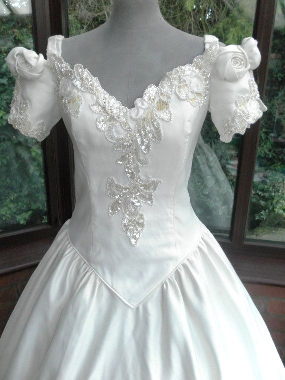 Sale Wedding Dress White Satin Beaded Lace And Diamante Rose Trim Size Uk12 Usa1 Wedding Dresses Vintage Princess New Wedding Dresses Wedding Dresses Vintage