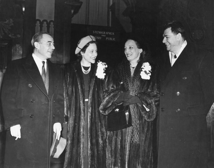 """Richard Rodgers, Dorothy Rodgers, Dorothy Hammerstein and Oscar Hammerstein II, celebrating the 1000th performance of """"Oklahoma!"""" on Broadway, 1946."""