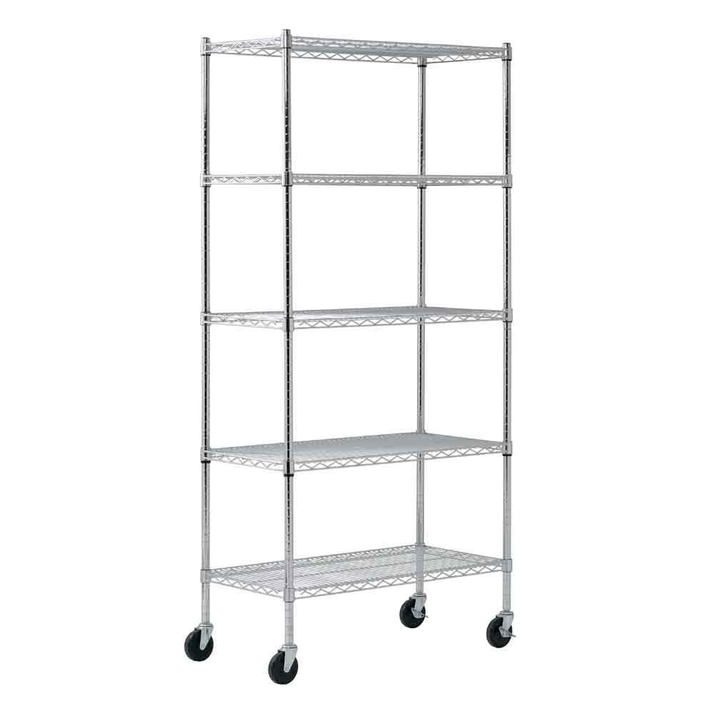 Sandusky Chrome 5 Tier Heavy Duty Steel Garage Storage Shelving 36 In W X 72 In H X 18 In D Mws361872 The Home Depot Wire Shelving Units Shelving Unit Wire Shelving