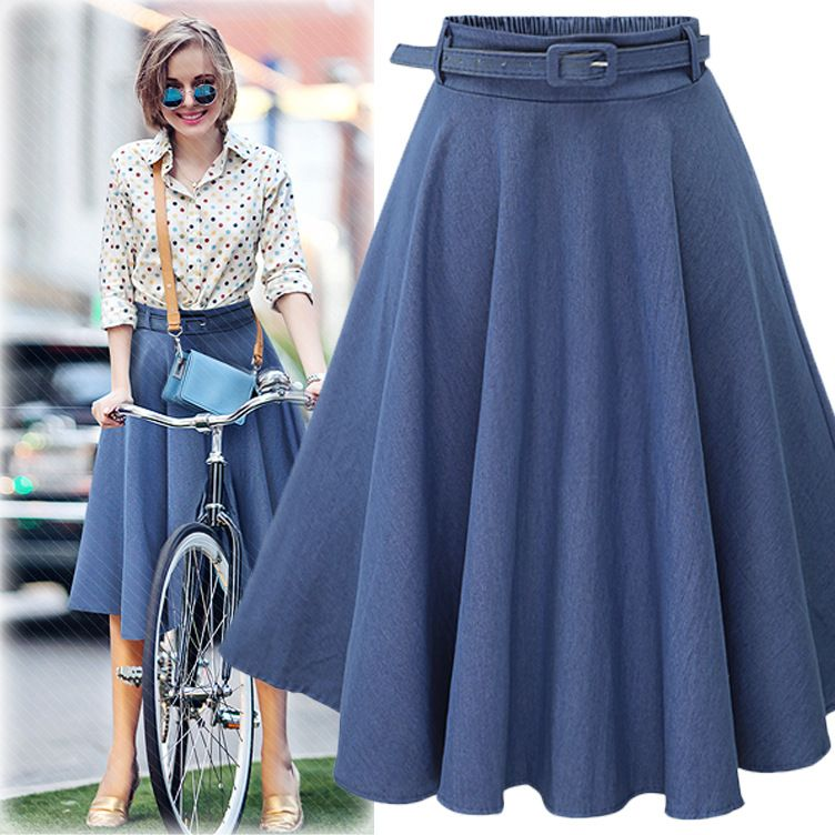 New Arrival Plus Size Jeans Pleated Skirts Women Fashion A-line High Waist Sashes Knee-Length Denim Skirts
