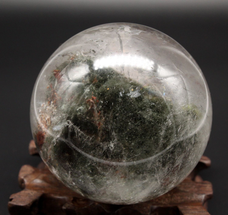 3.5\u0027\u0027Large Dark Green Phantom Quartz Sphere ,Fairy Crystal
