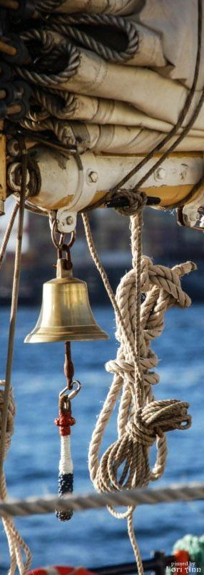 The only rope on a boat is...that of the bell.