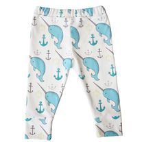 organic cotton leggings in narwhals and anchors