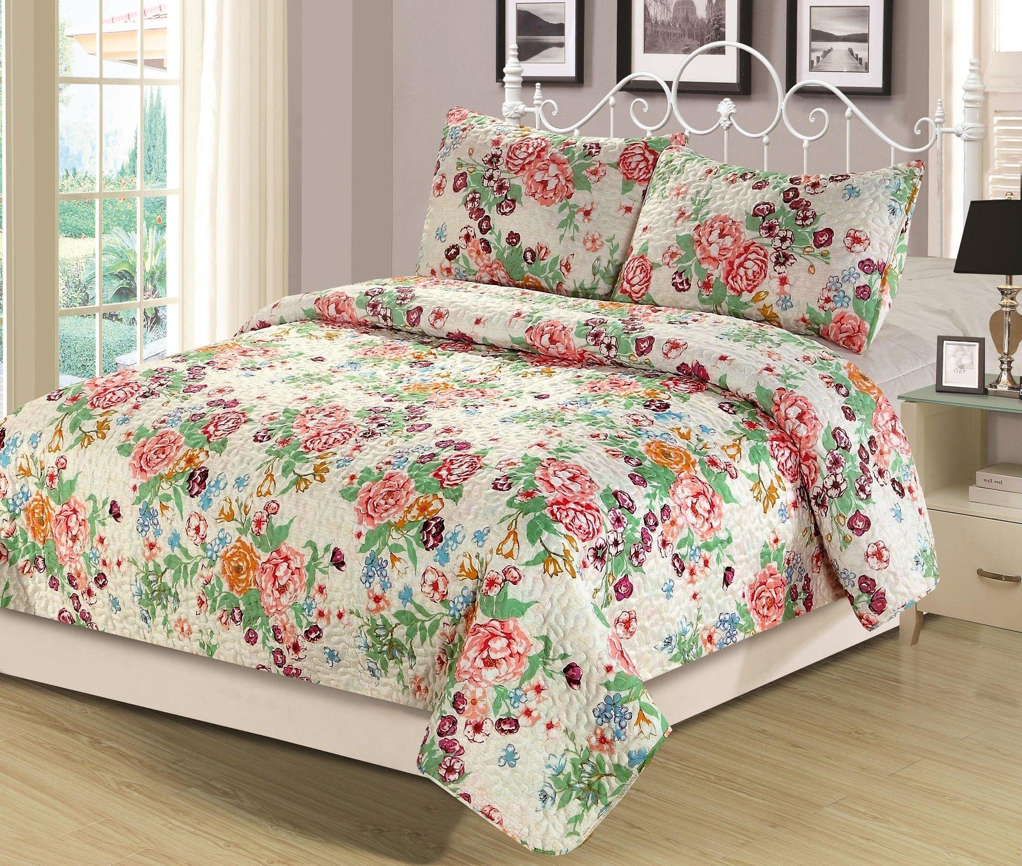 Beatrice Floral Bouquet Full Queen Quilt Pink Blue Orange Flowers