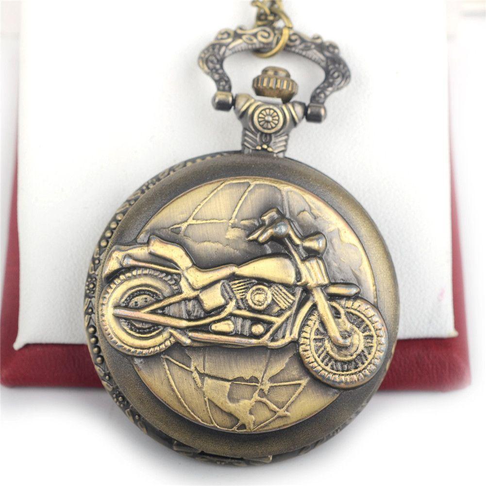 Classic Steampunk Roman Retro Motorcycle Mechanical Skeleton Steel Mens Black Windup Pocket Watch Alternative Measures