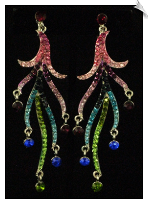 77f1d9d91 Silvertone Dangle Clip On Earrings Accented with Multi Colored Rhinestones  $38 @ www.whimzgirlclipearrings.com
