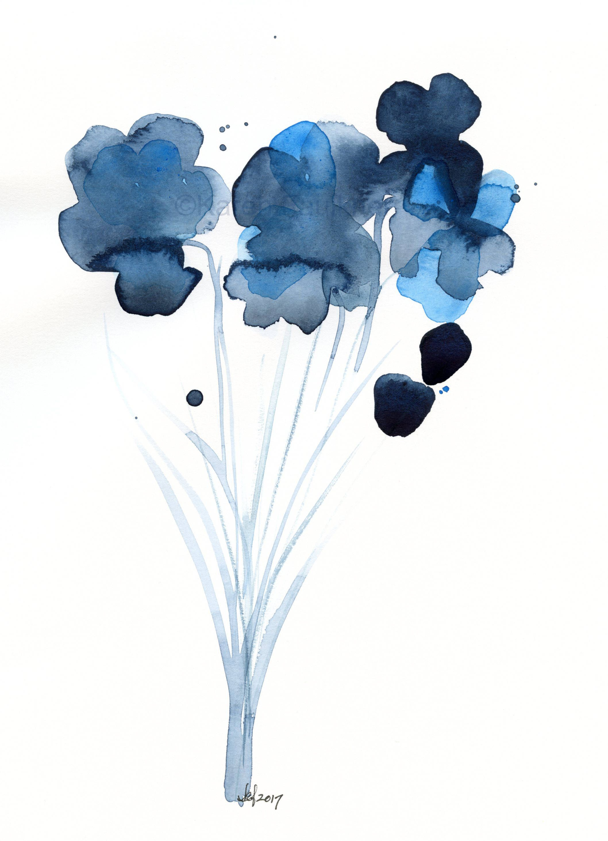 Original Watercolor Flower Painting Azure And Indigo Bouquet By