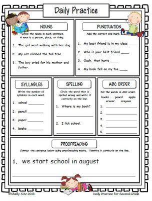 Language arts practice worksheets 2nd grade