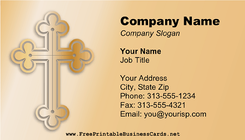 A gold cross is pictured on this printable business card for a gold cross is pictured on this printable business card for churches pastors and reheart Choice Image