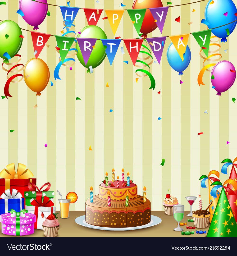 Birthday background with birthday cake and colorfu vector