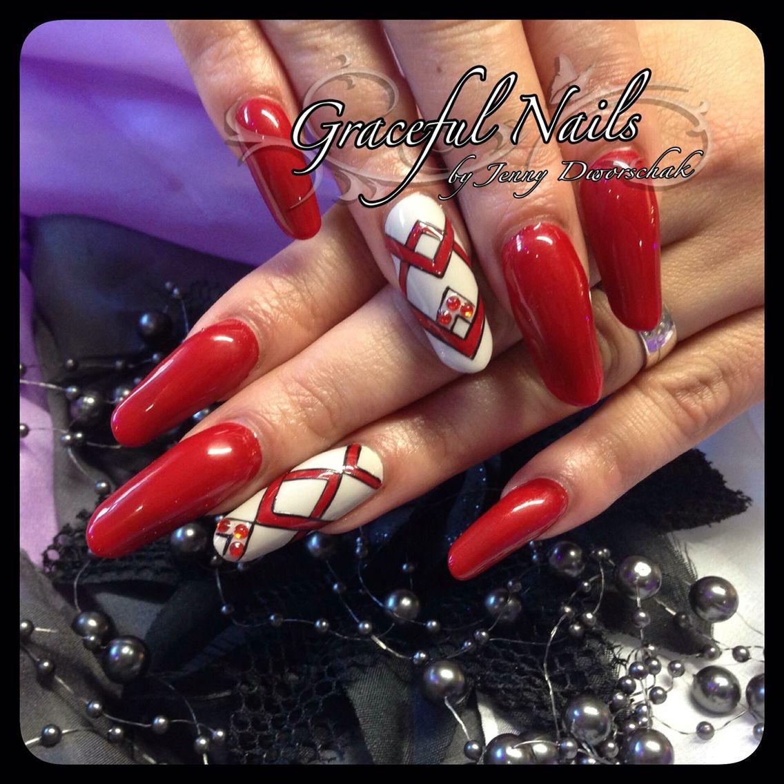Rot Fullcover Gelmalerei Swarovski Strass Naildesign Nailart | Nails ...