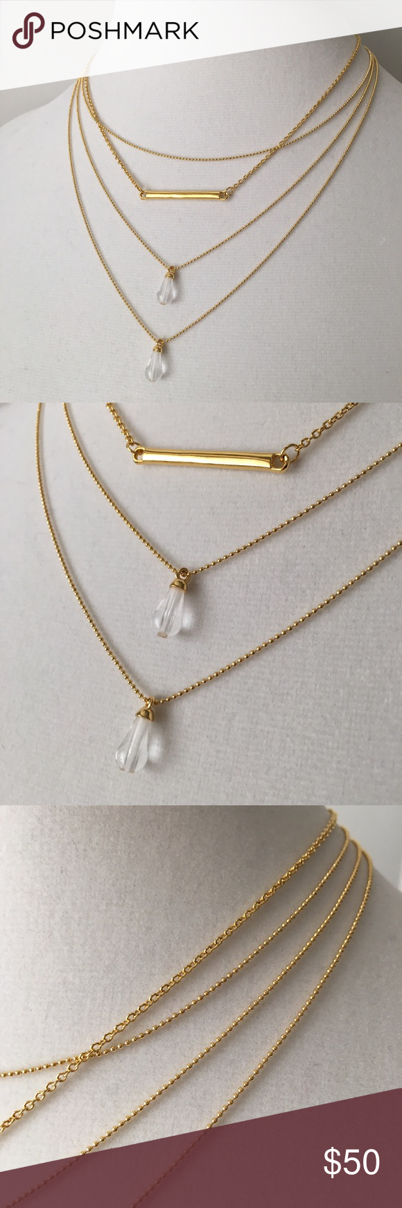 """Sterling Forever Gold/Quartz Illusion Necklace NEW Simply elegant 14K Gold plate chains with Quartz charms. Brand new, with box. About 16-18"""" length, 2"""" drop. Beautiful! Sterling Forever Jewelry Necklaces"""