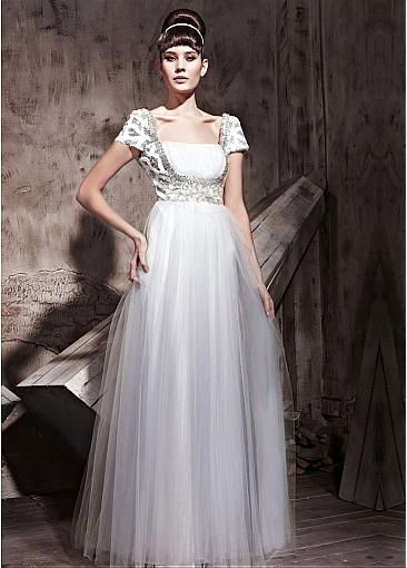 In Stock Gorgeous Sequin Net & Malay Satin  Net  A-line Bateau Neckline Floor-length Evening Dress  With Beads #Dressilyme