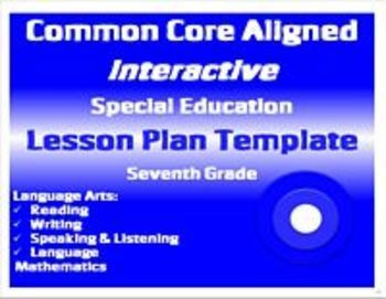 Common Core Special Education Interactive Lesson Plan Templates - Special education teacher lesson plan template