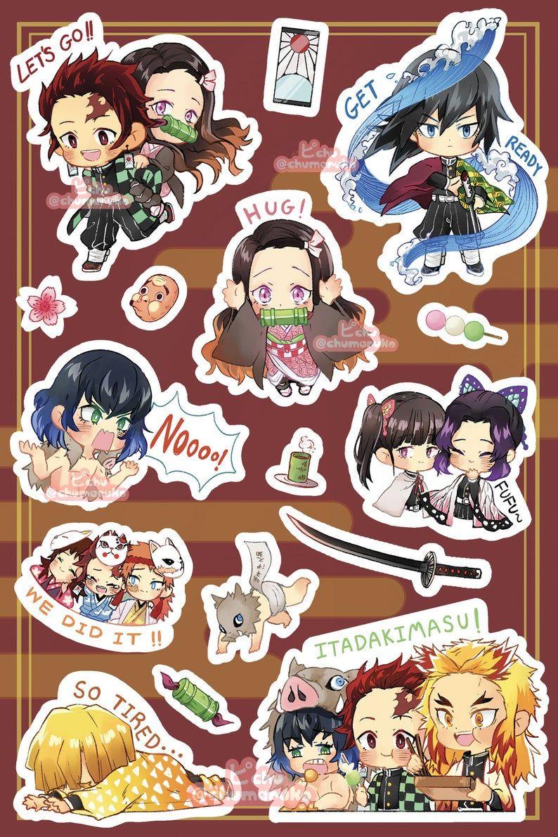 Demon Slayer Kimetsu No Yaiba Sticker Sheet Etsy Anime Stickers Anime Butterfly Anime Merchandise [ 1191 x 794 Pixel ]
