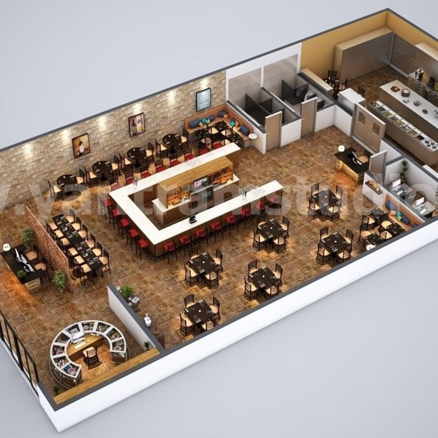 Fully Modern Bar 3D Floor Plan Design Ideas By Yantram architectural planing panies Cape Town South Africa Galleries
