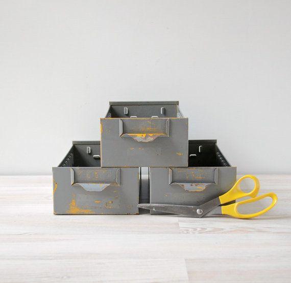 Vintage Industrial Metal Storage Bins Set Of 3 By Thegoldgator Metal Storage Bins Storage Bins Vintage Industrial