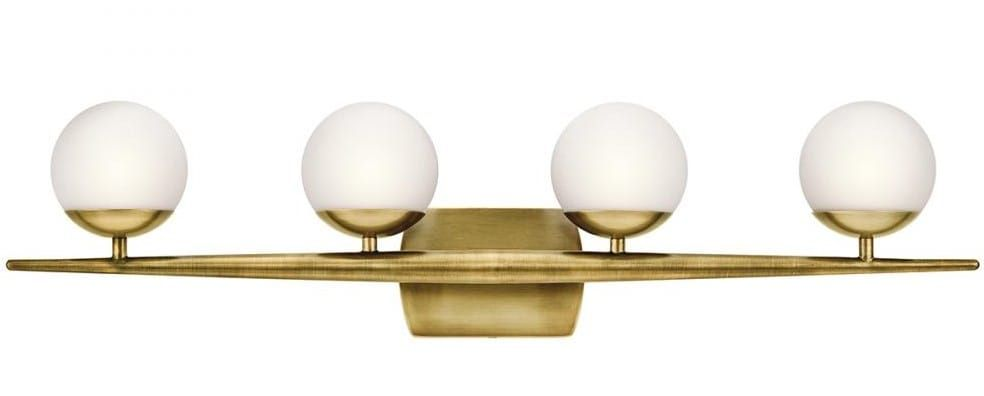 Photo of Kichler Jasper 4-Light 32″ Bathroom Vanity Light in Natural Brass