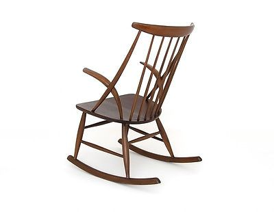 Danish Modern Rocking Chair Design ILLUM WIKKELSO 60s 70s Sessel  Schaukelstuhl 5