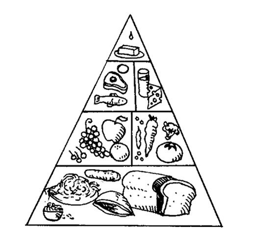 the food pyramid with a nice array of coloring page for kids