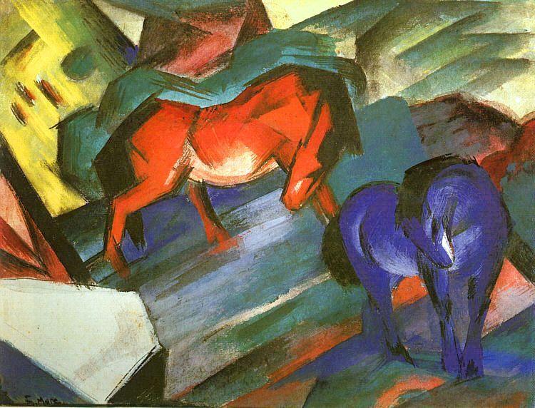 Franz Marc, Cavalli blu e rosso, 1912, Lenbachhaus di Monaco di Baviera