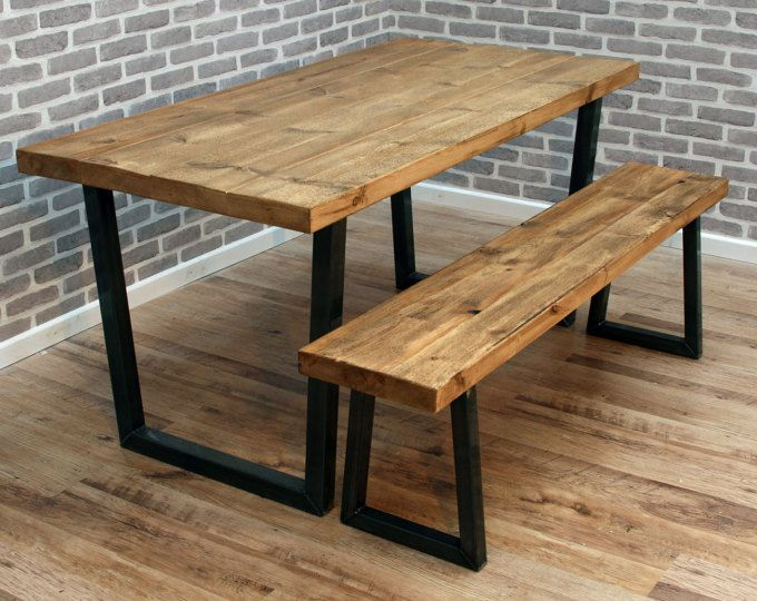 Brinkley Plank U Frame Industrial Reclaimed Sawn Wood Dining Table Metal  220 X 80 Cm 10
