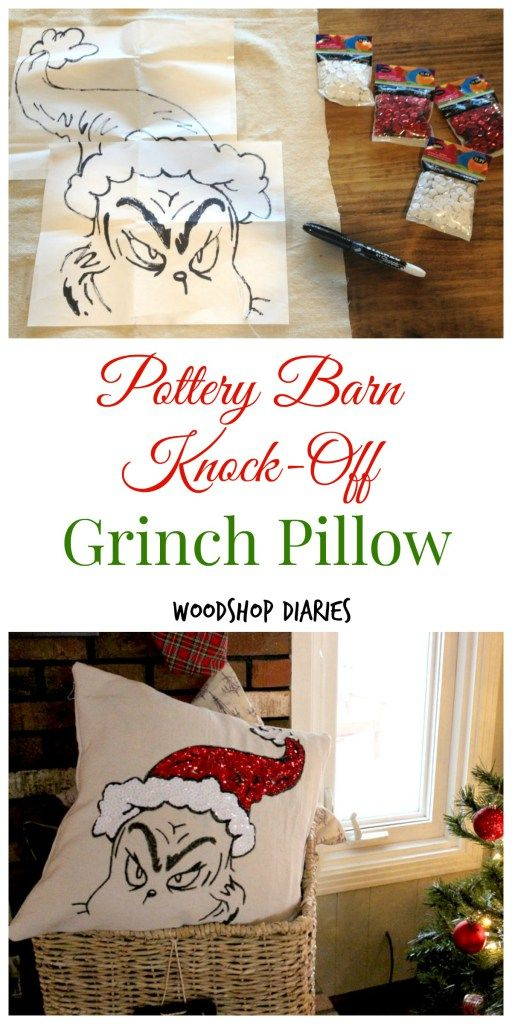 Diy Grinch Pillow A Pottery Barn Knock Off Christmas