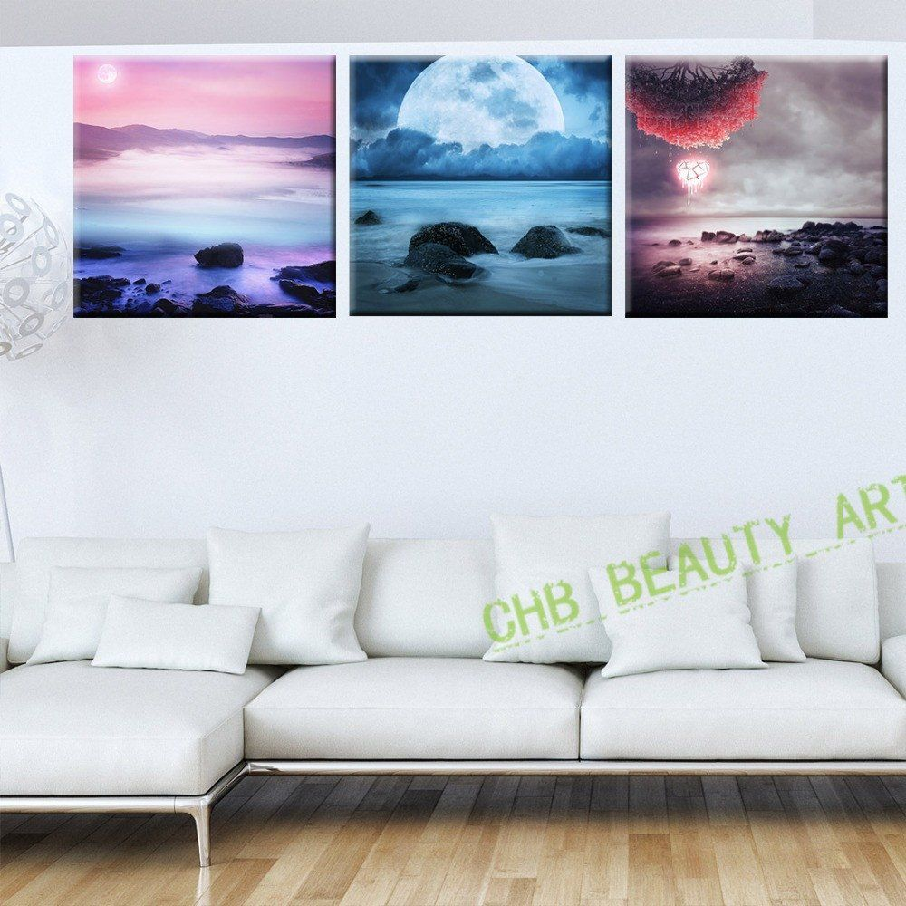 3 Piece Beauty Earth Psychedelic Art Painting Canvas Hd Prints Interesting Living Room Paintings Decorating Design